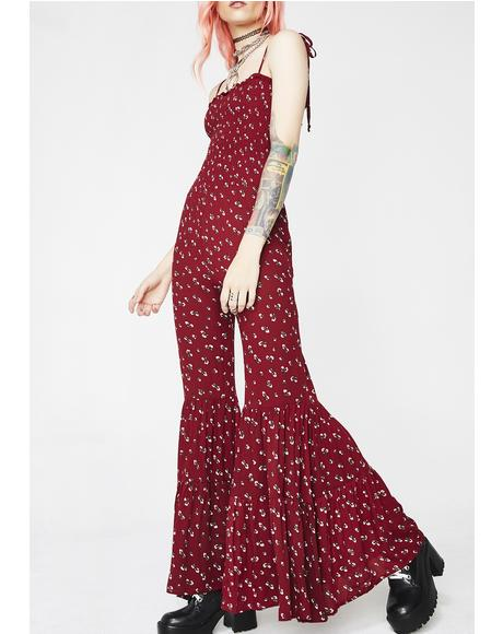 Total Bella Red Ribbed Floral Tie Strap Jumpsuit