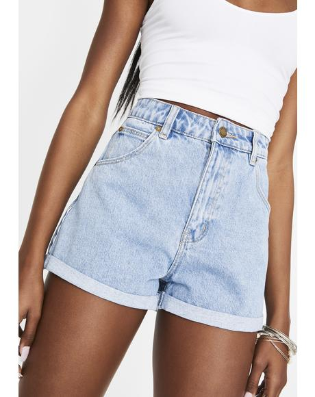 Sunday Blue Duster Denim Shorts