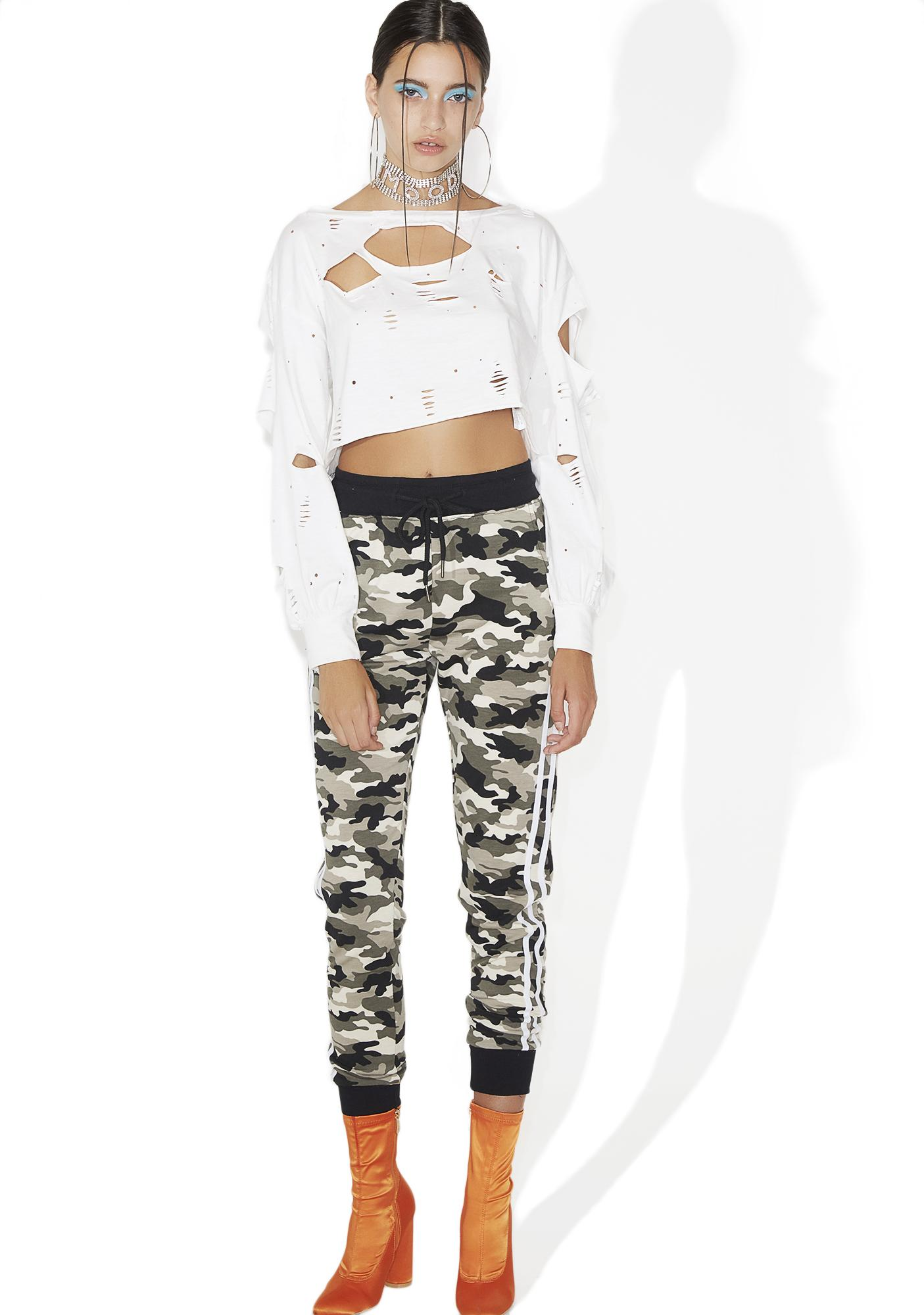 Battlefield Distressed Crop Top