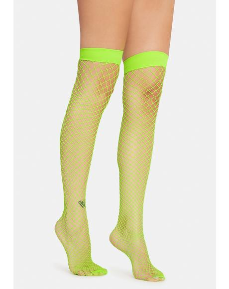 Atomic Deadly Kisses Fishnet Thigh Highs