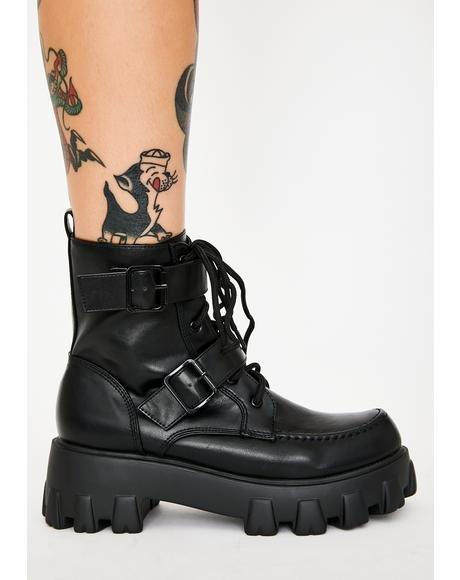 Dark Illegal Loner Combat Boots