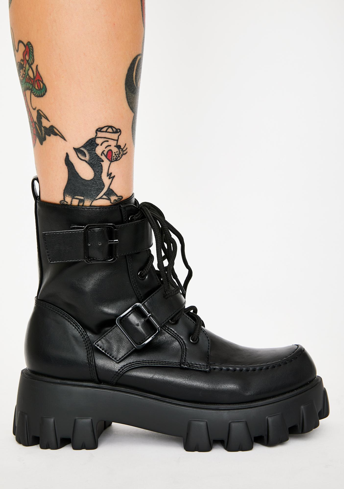 Dark Illegal Loner Combat Boots