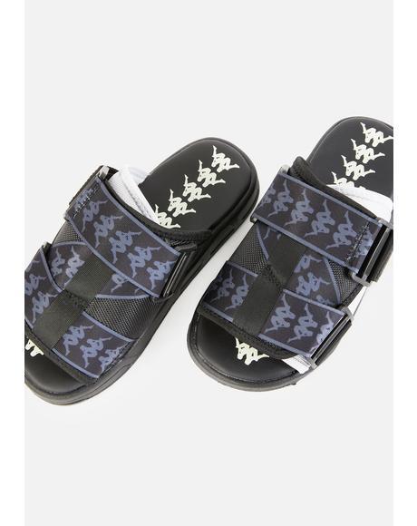 Black White 222 Banda Mitel 1 Sandals