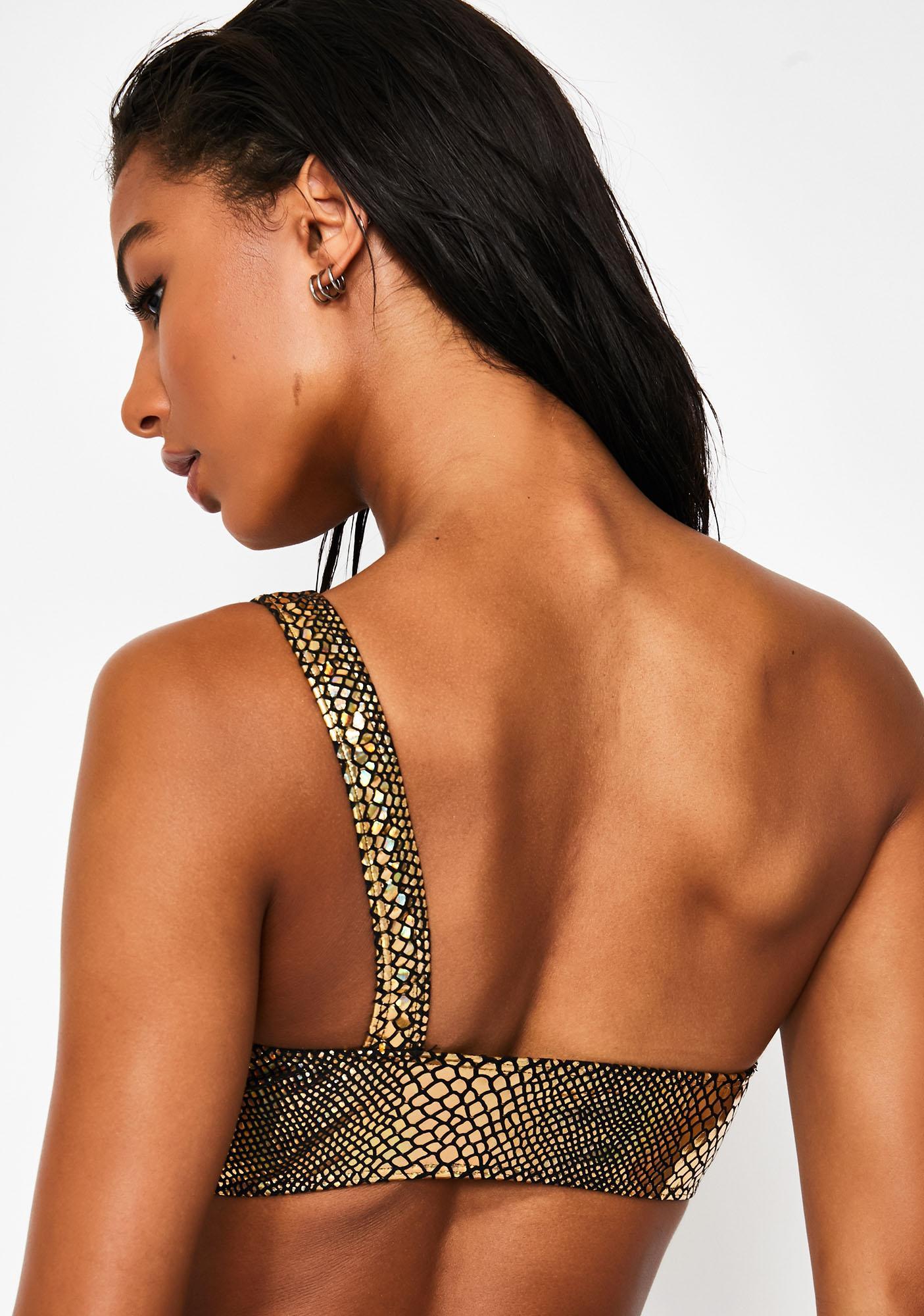 Jaded London Metallic Serpent One-Shoulder Bikini Top