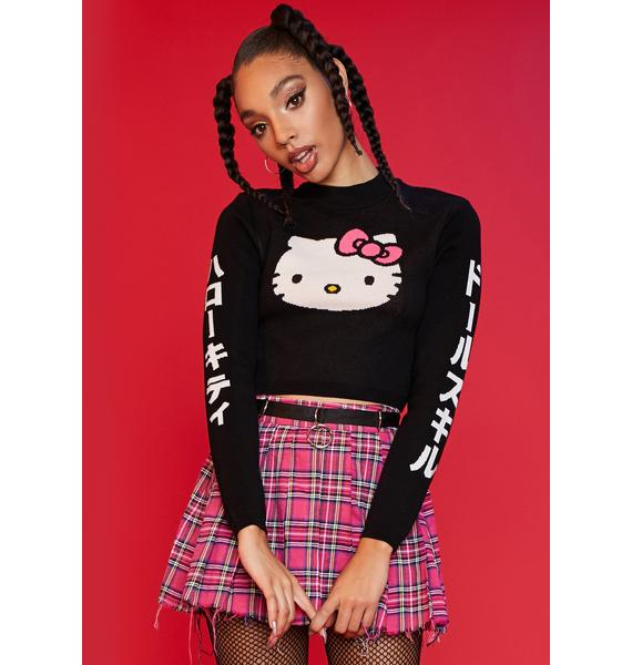 Dolls Kill x Hello Kitty Hugs And Kisses Crop Knit Sweater