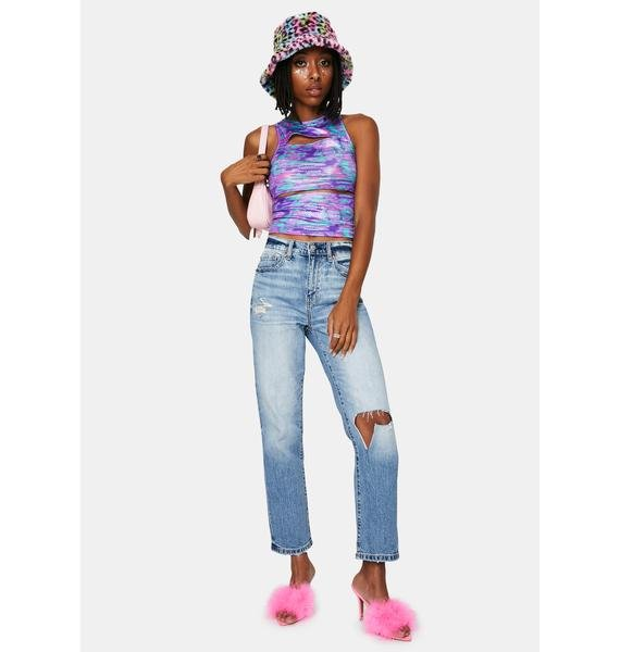 Royal Crazy Nights Cut Out Crop Top