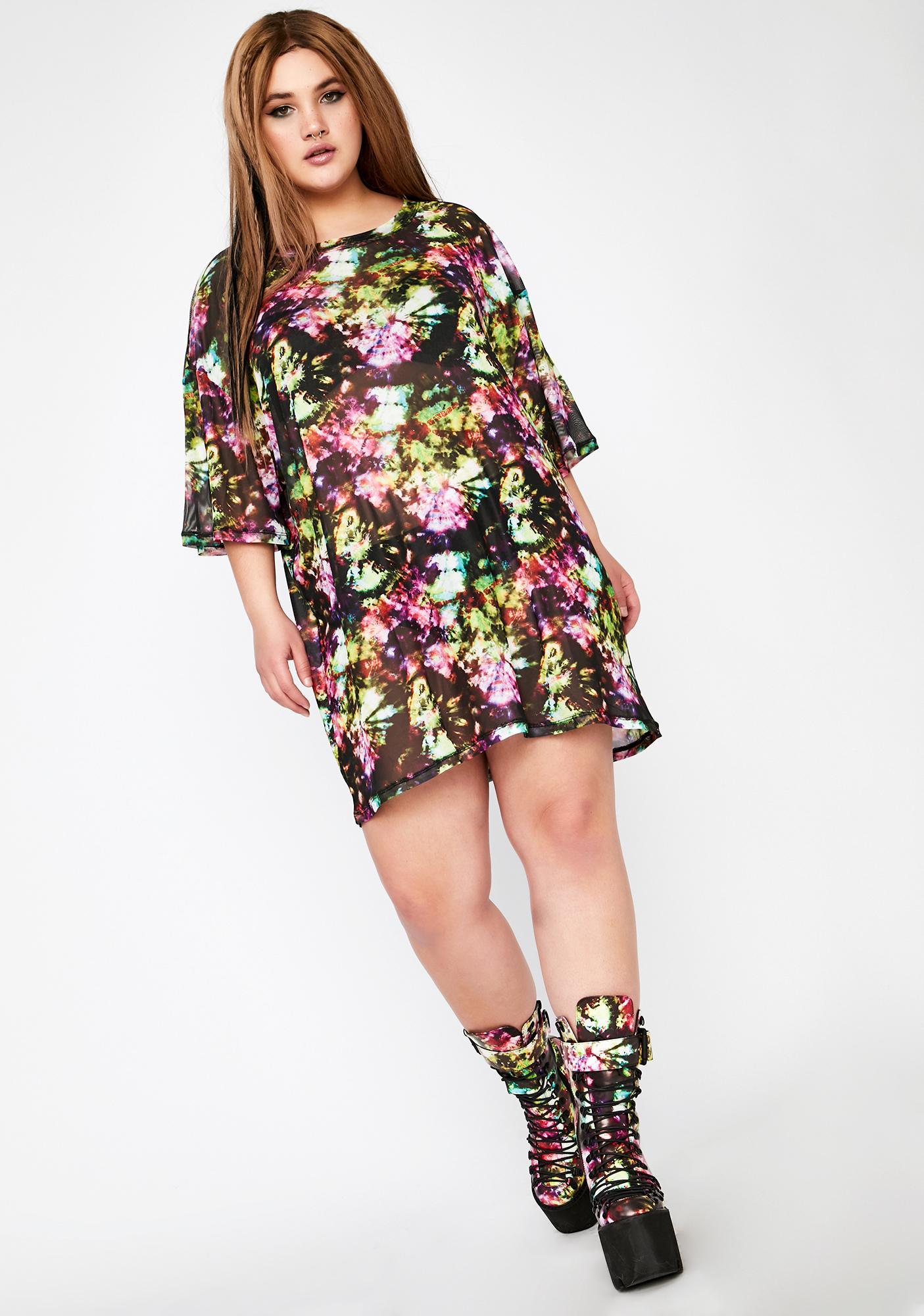 Club Exx Divine Acid Sunrise Mesh Tee Dress