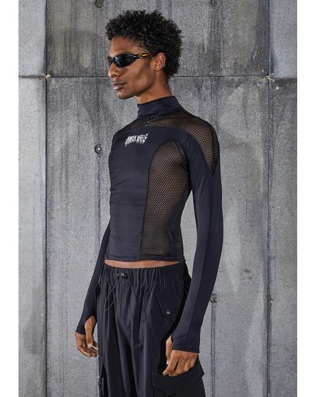 Snare Mock Neck Top With Athletic Mesh Contrast