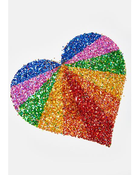 Rainbow Heart Body Sticker