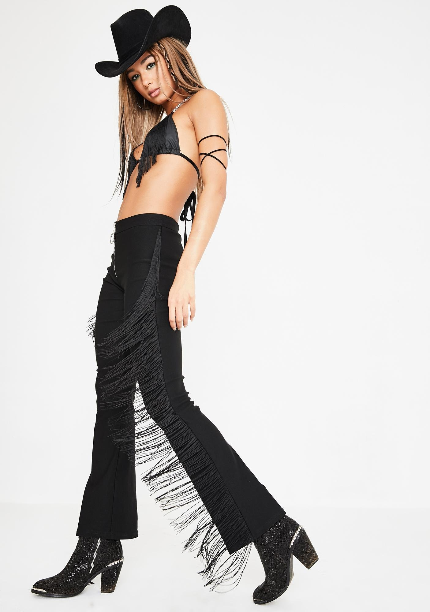 Club Exx Fight The Moonlight Fringe Pants