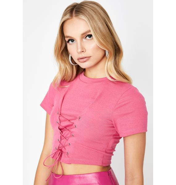 Baby In A Daze Lace-Up Top