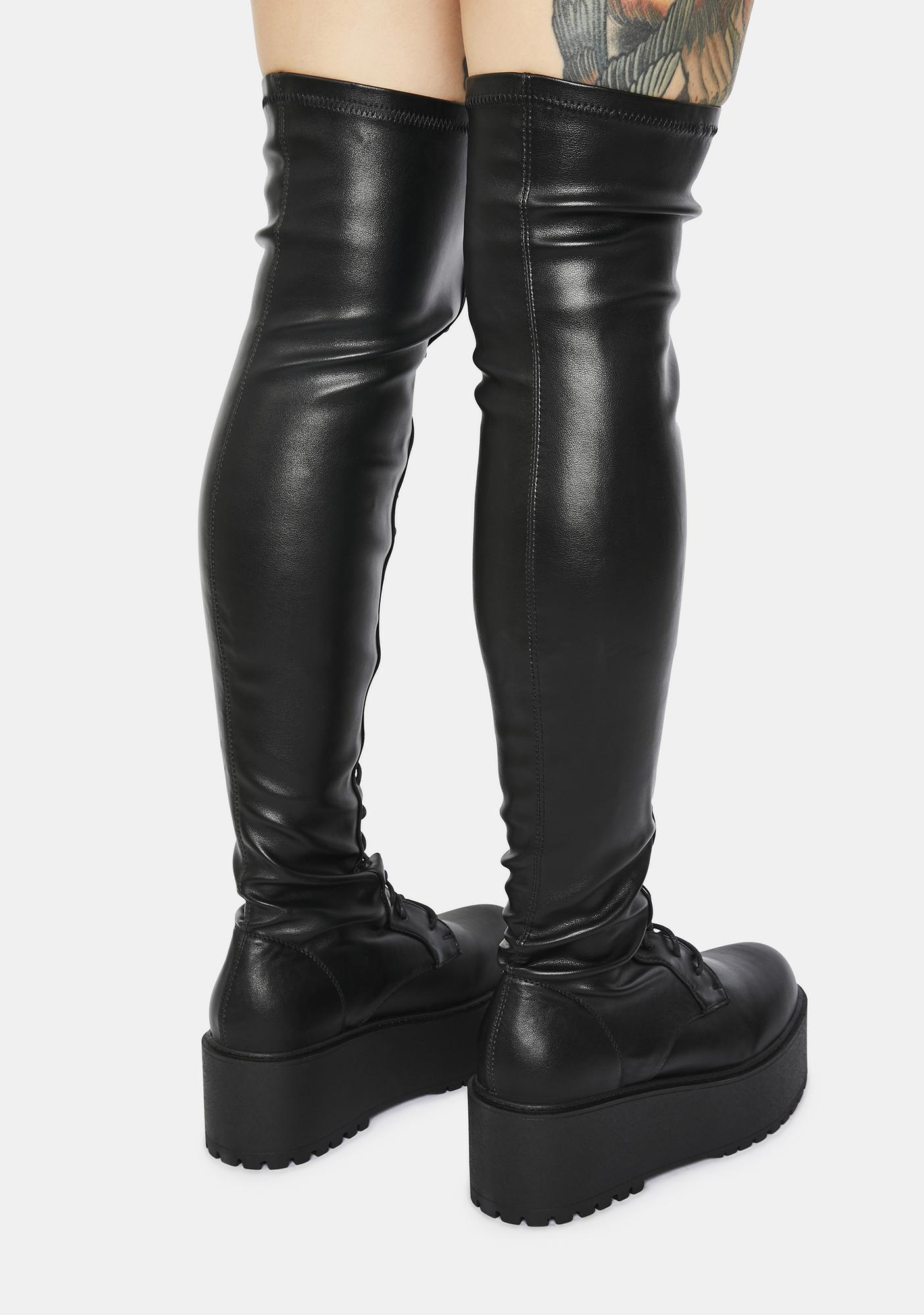 Break The Record Platform Thigh High Boots