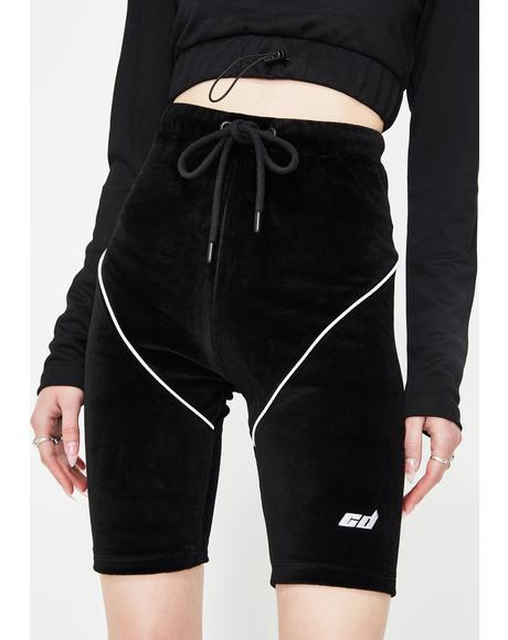 Black Velour Biker Shorts