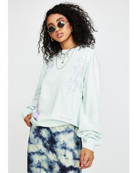 Mixed Art Numerical Crewneck Sweatshirt