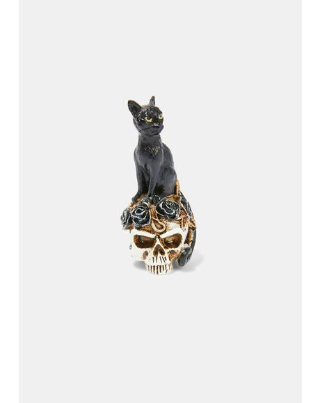 Black Cat Skull Miniature