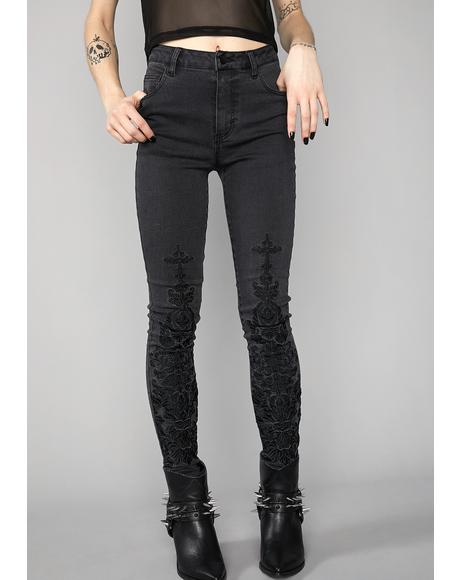Wicked Fate Embroidered Jeans