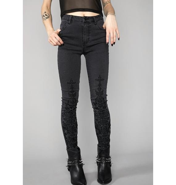 Widow Wicked Fate Embroidered Jeans
