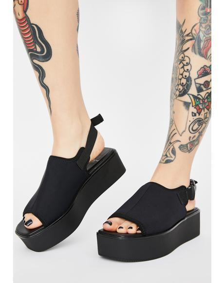 Black Textile Bonnie Platform Sandals