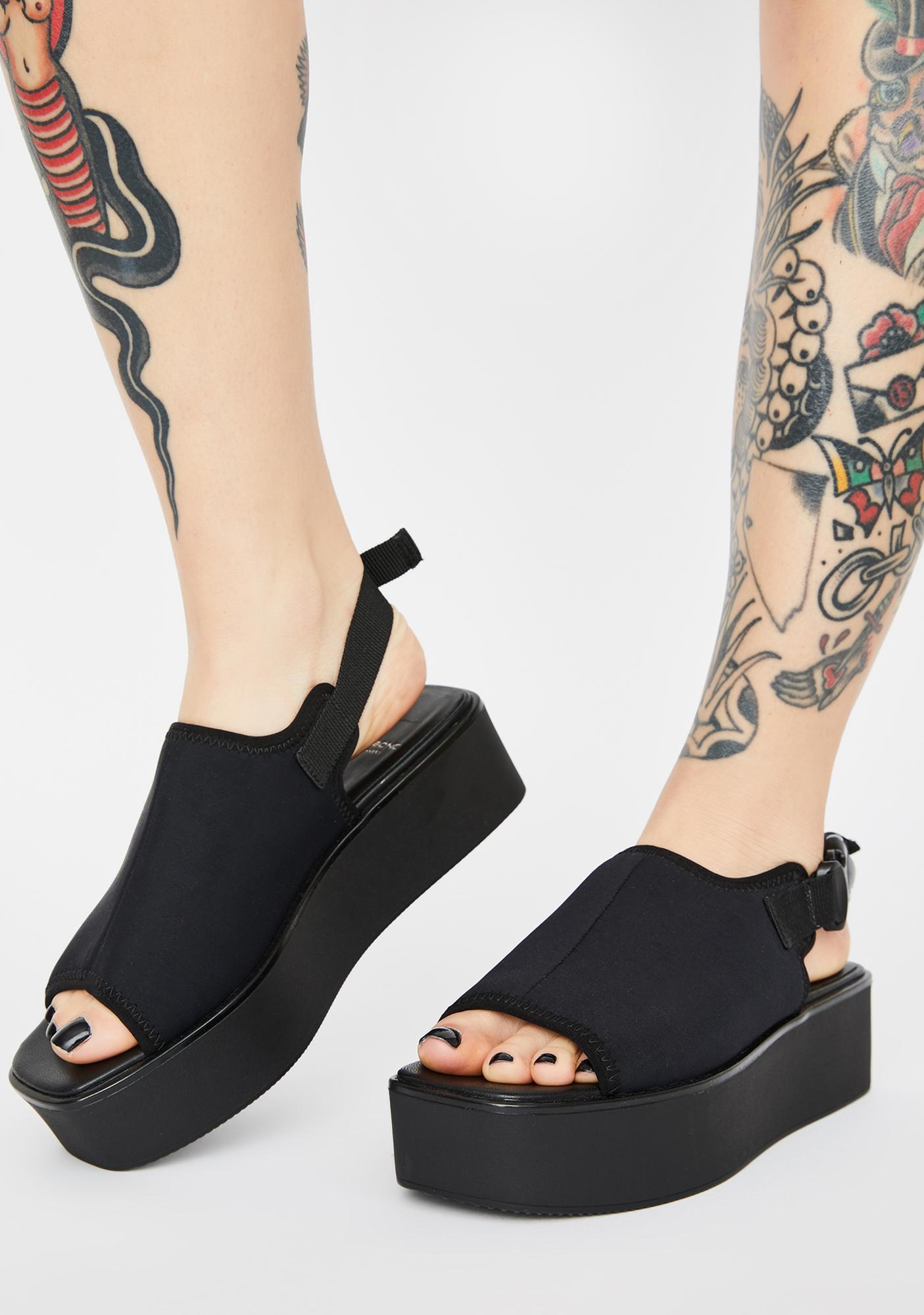 VAGABOND SHOEMAKERS Black Textile Bonnie Platform Sandals