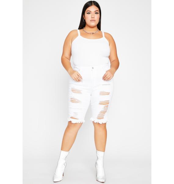 Lost in Thot Distressed Denim Shorts