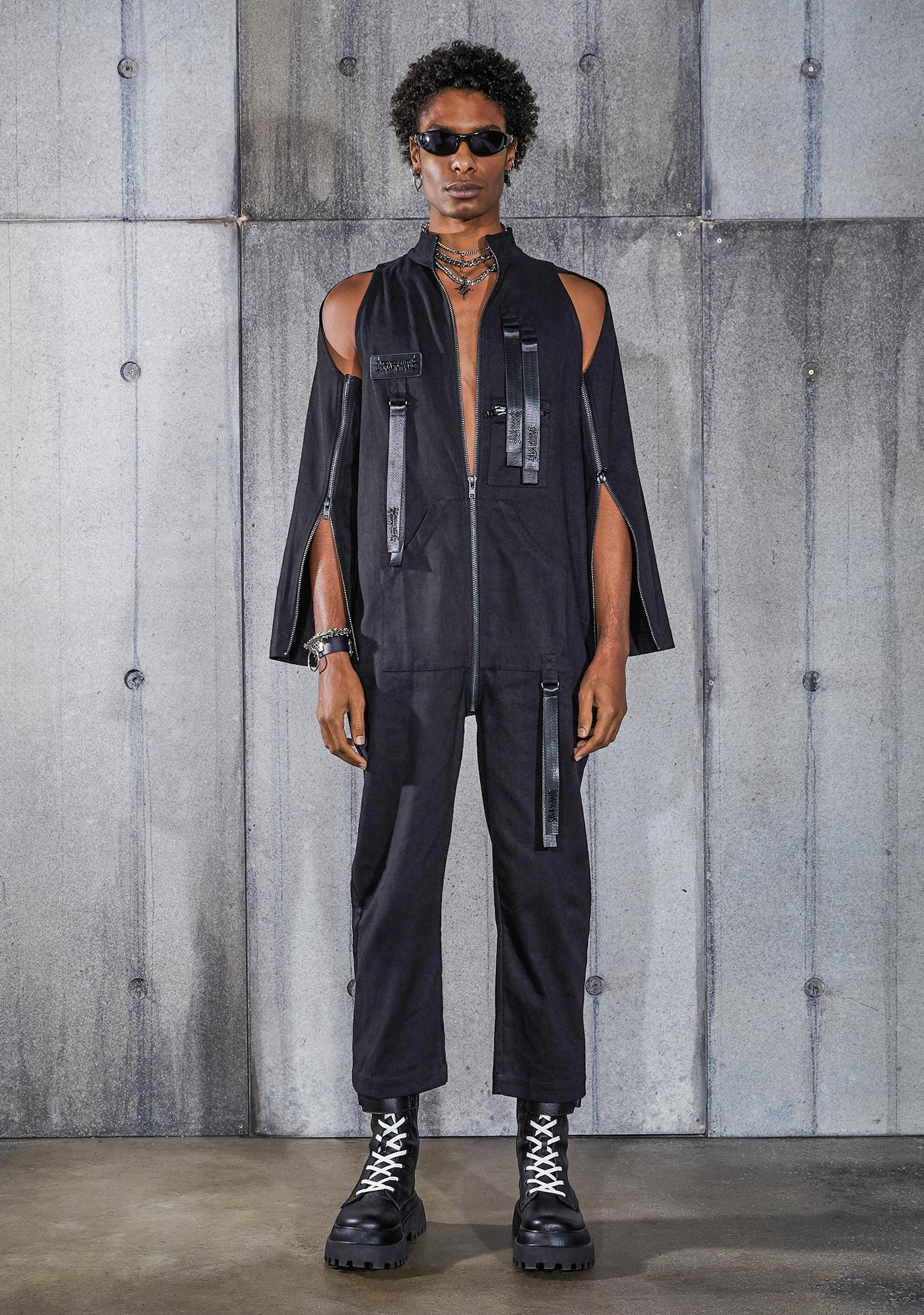 DARKER WAVS Snare Zip-Off Sleeve Cargo Jumpsuit