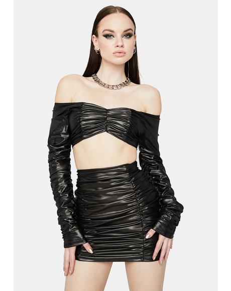 Blame Me Vinyl Skirt Set