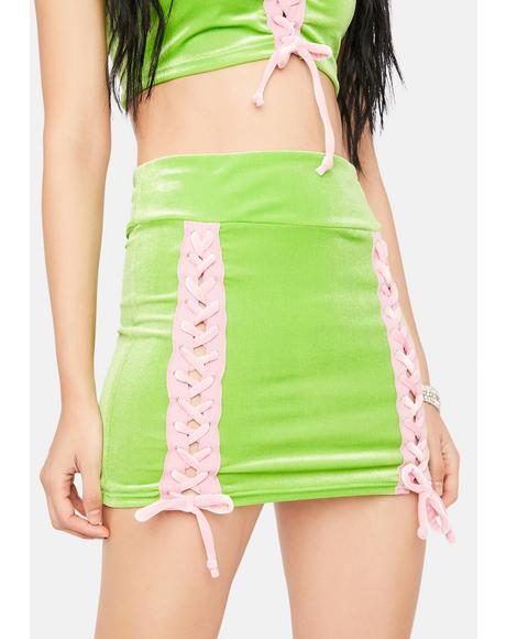 Lime Modern Angel Velour Mini Skirt
