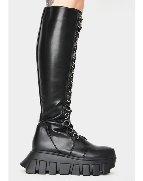 Think Twice Knee High Platform Boots