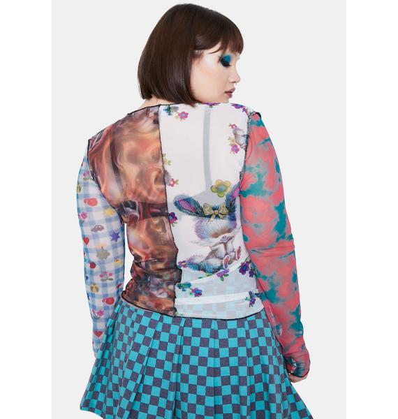 NEW GIRL ORDER Curve Spliced Patchwork Mesh Top