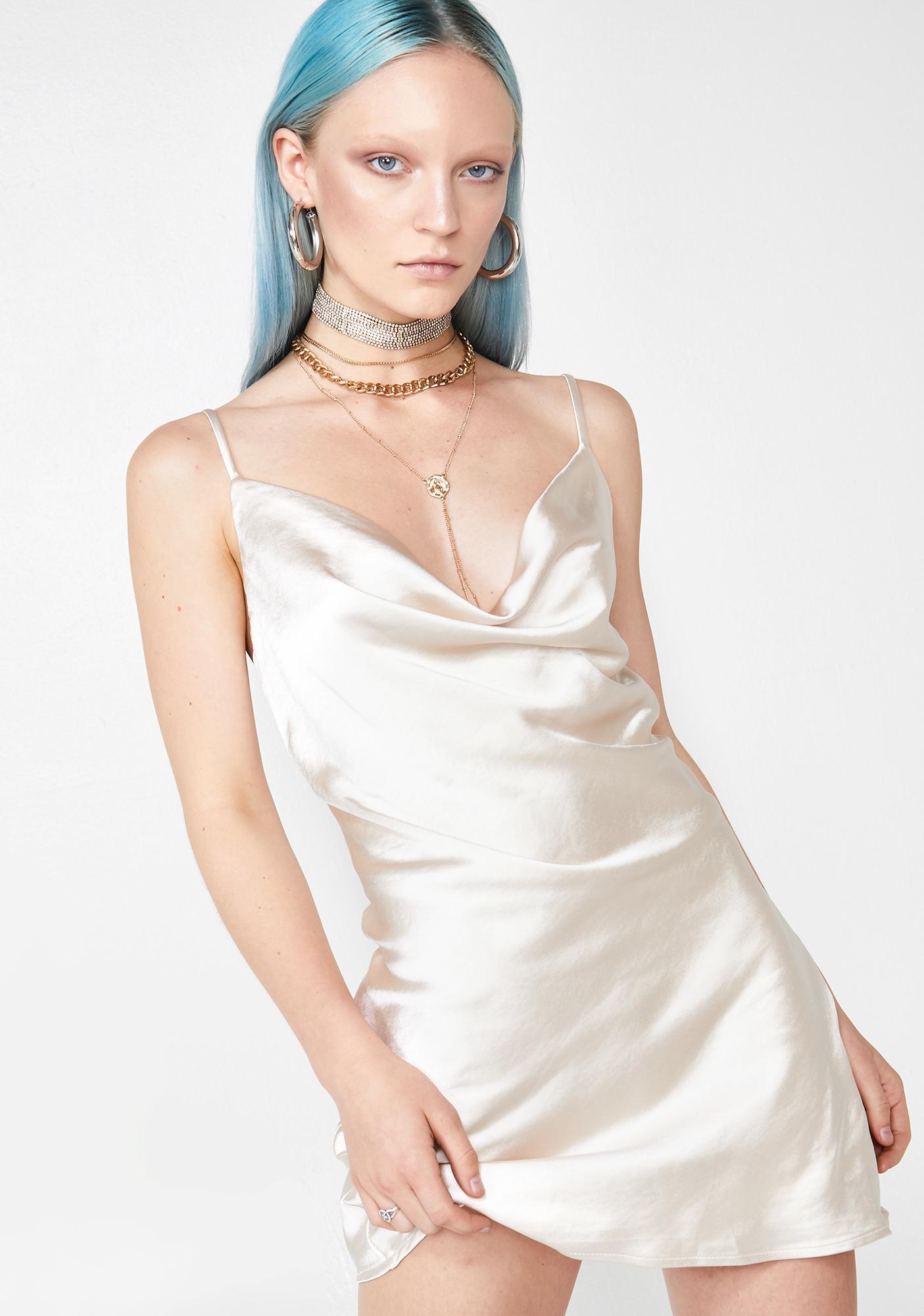 ae4fe89a1031 Slip Dress Cowl Neck Satin Off White | Dolls Kill