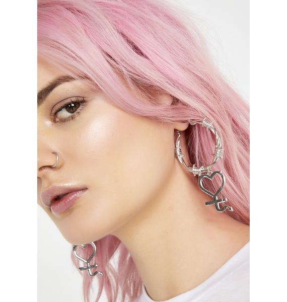 Risky Heart Barbed Wire Earrings