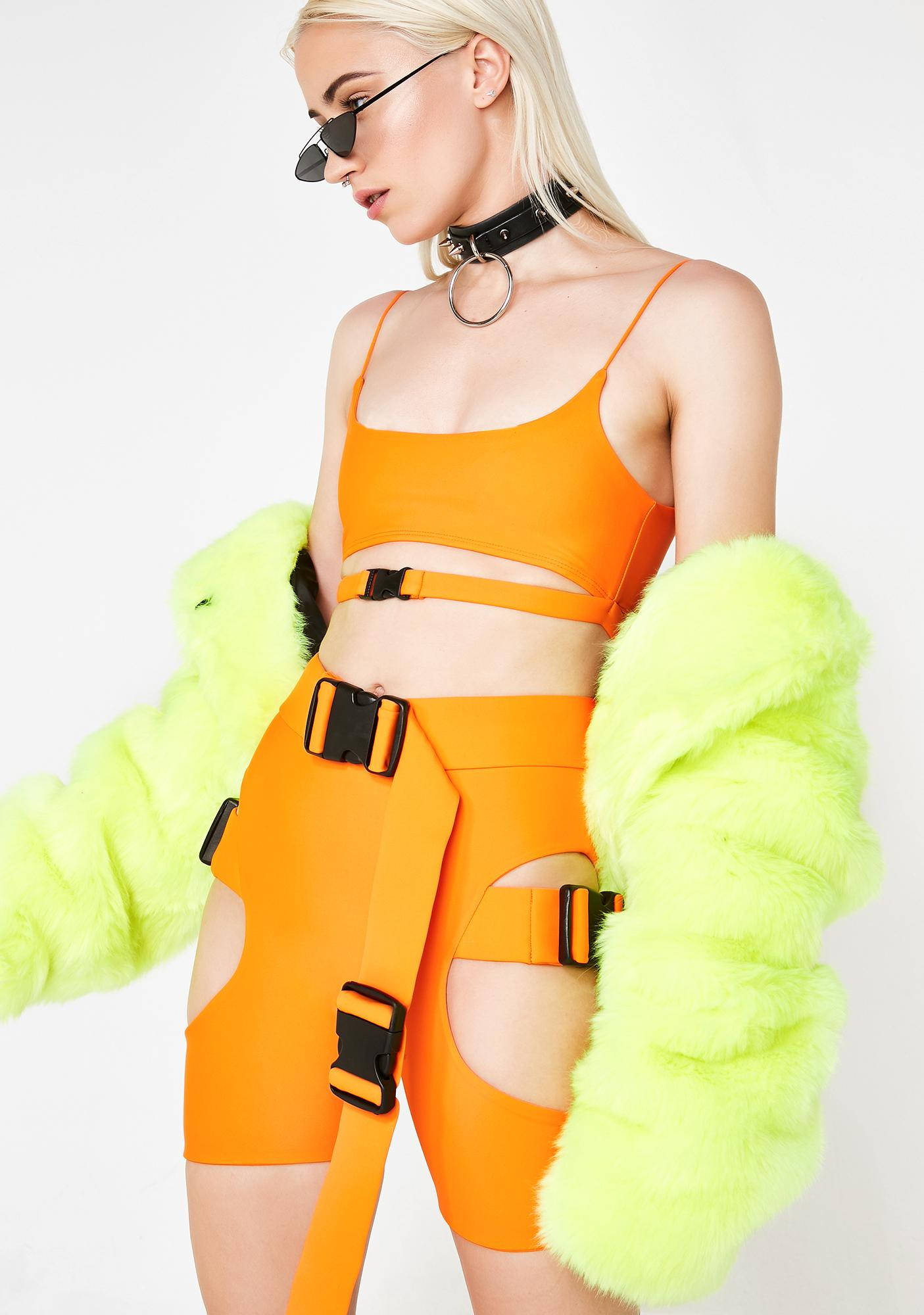 Lipt The Label Agent Orange Buckle Shorts