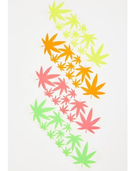 Blacklight Weed Leaf Body Stickers