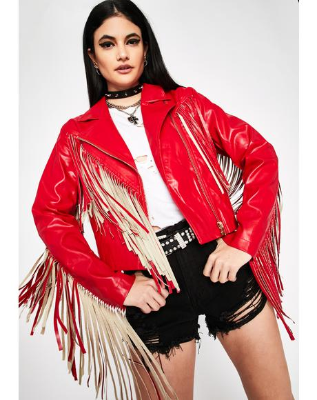 Cherry High Roads Fringe Moto Jacket