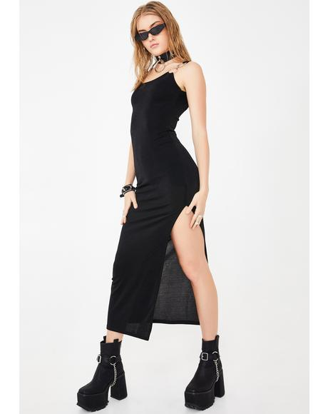 Fitted O-Ring Midi Dress