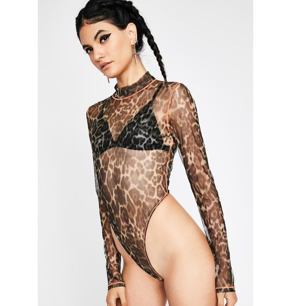 Juicy Litty Kitty Sheer Leopard Bodysuit