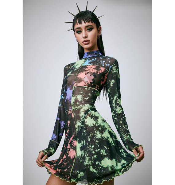 Current Mood Our Time Now Tie Dye Mesh Dress