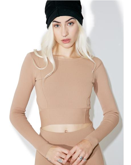Compact Crop Long Sleeve Top