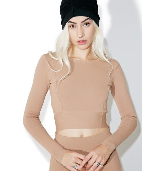 Kendall + Kylie Compact Crop Long Sleeve Top