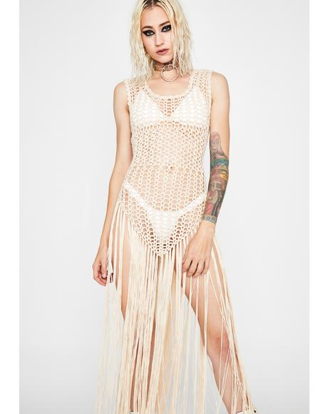 Almond Full Moon Fest Fringe Dress