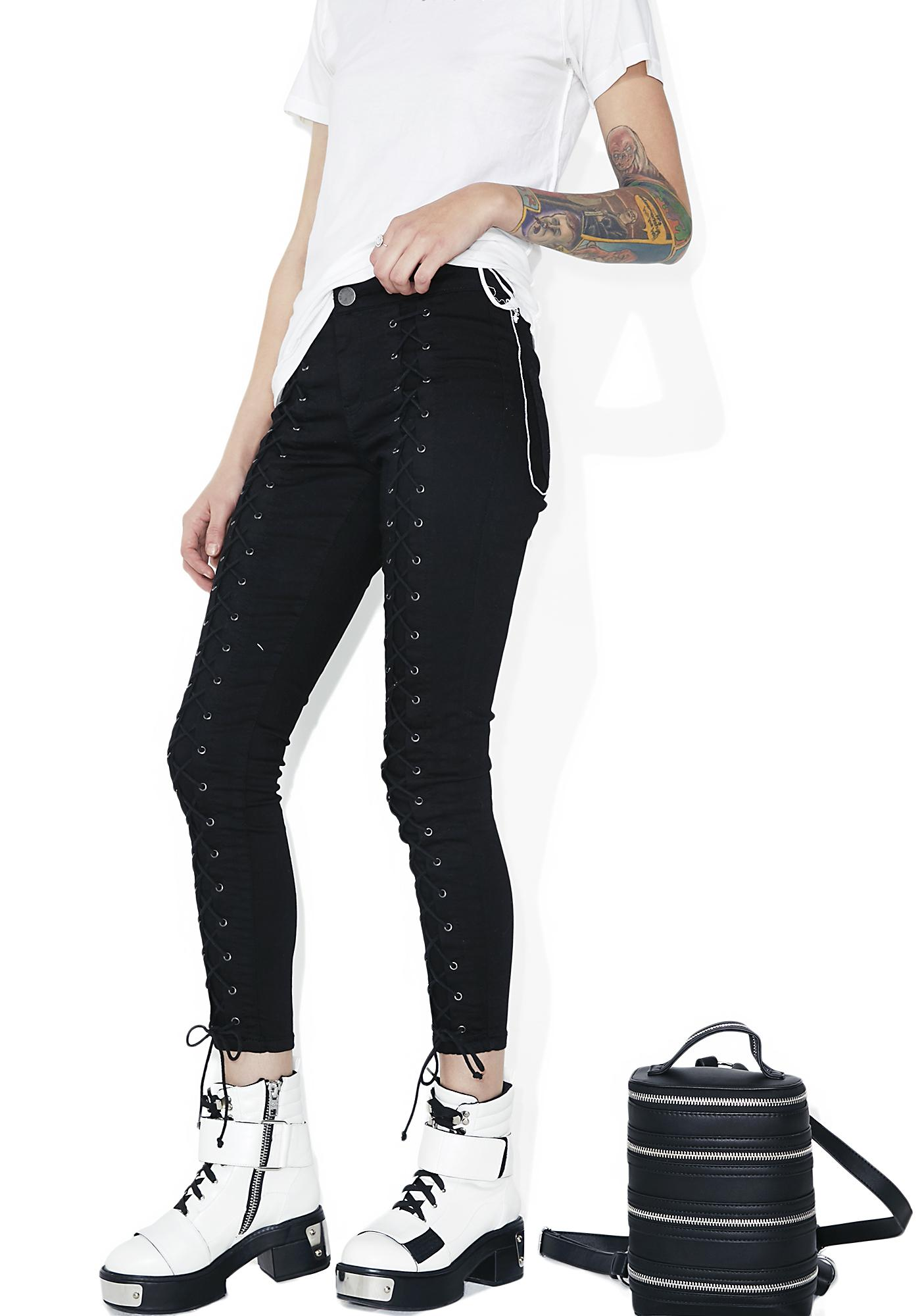 Glamorous Casbah Lace-Up Skinny Jeans