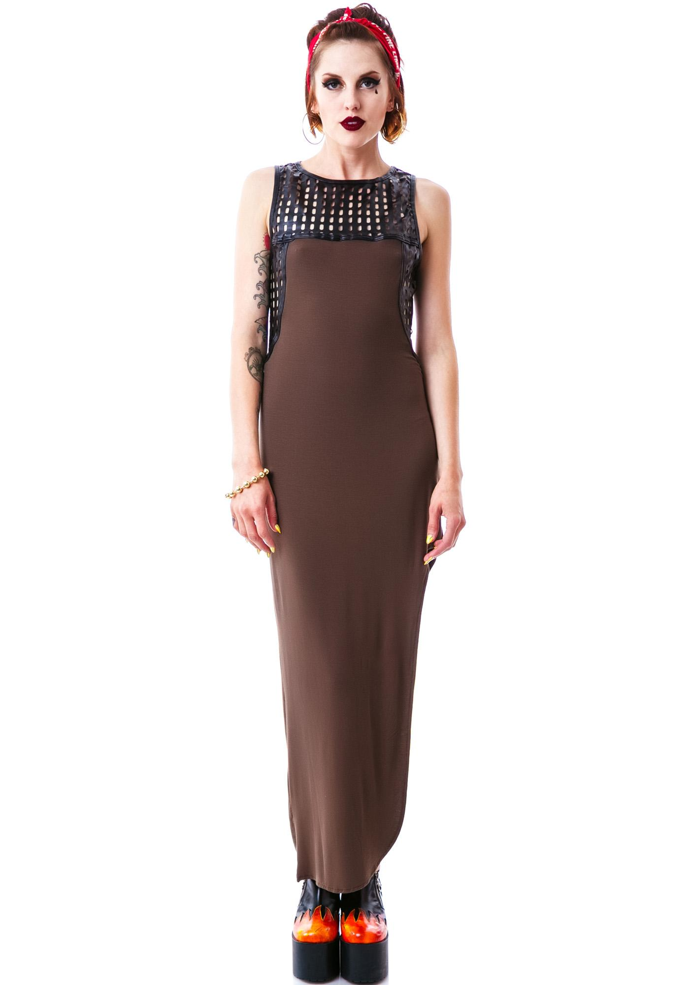 2e5849bddef Apocalyptic Veggie Leather Trim Maxi Dress