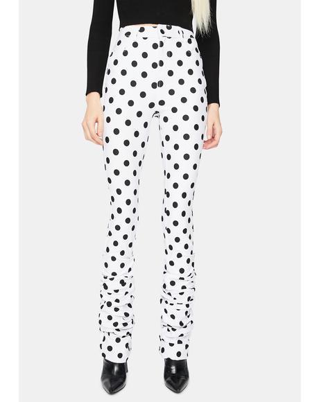 Chic Fantastic Polka Dot High Waisted Ruched Pants