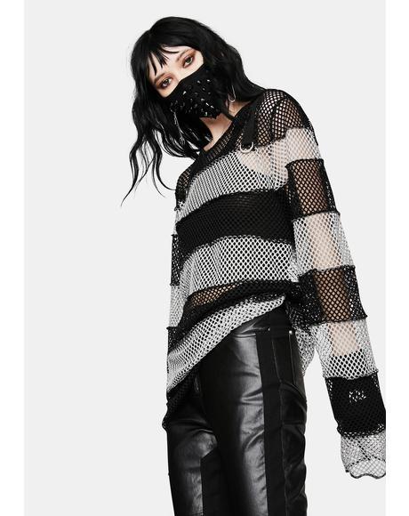 Black Mega Mesh Stripe Jersey