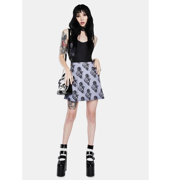 Too Fast Skull Rose Deep V Skater Dress