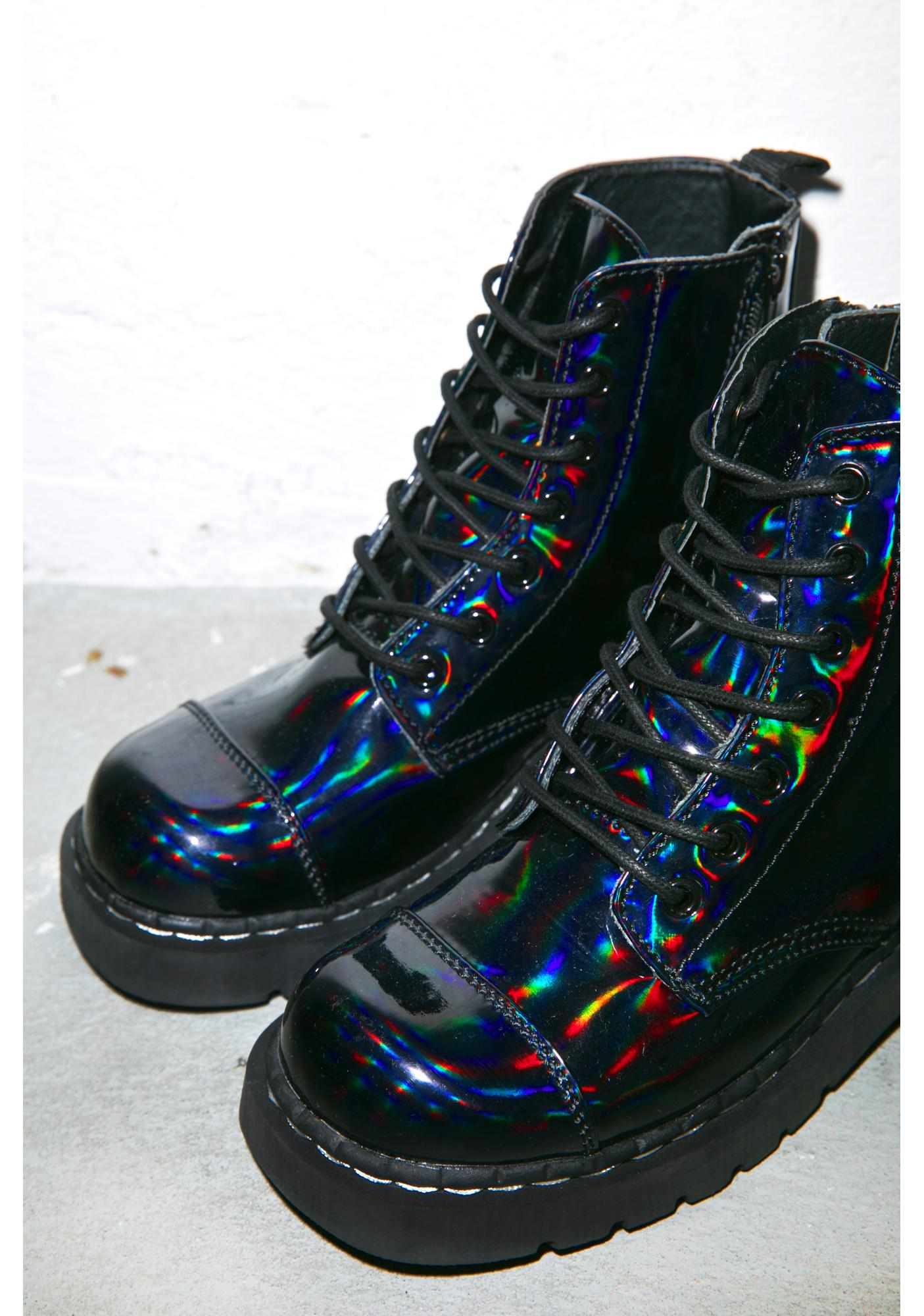 T.U.K. Dark Iridescent Anarchic 7 Eye Boots
