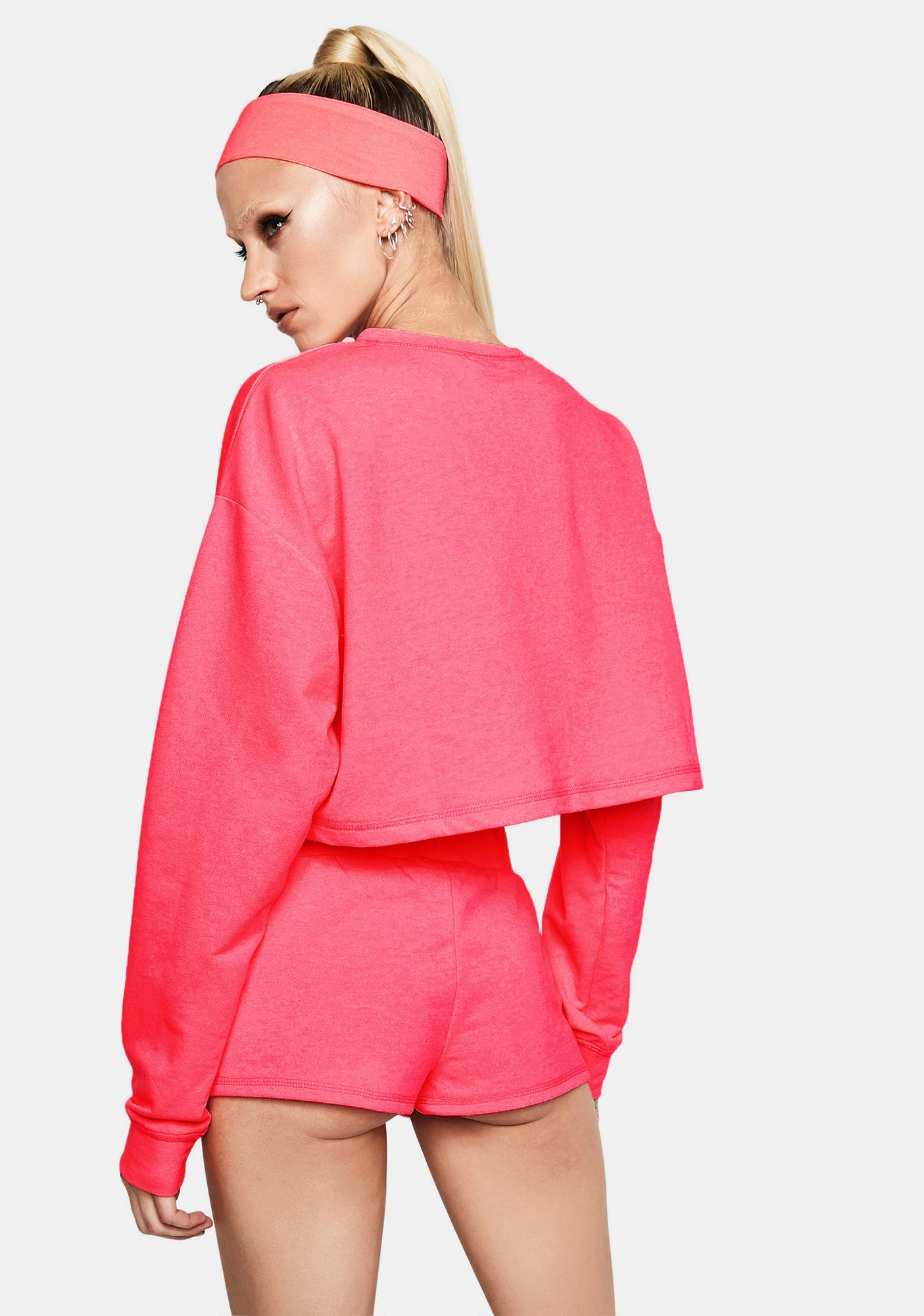 Club Exx Fuchsia Feel The Rush Cropped Long Sleeve