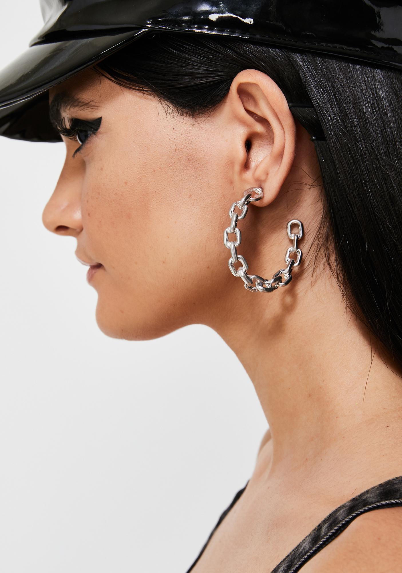 Chained Up Hoop Earrings