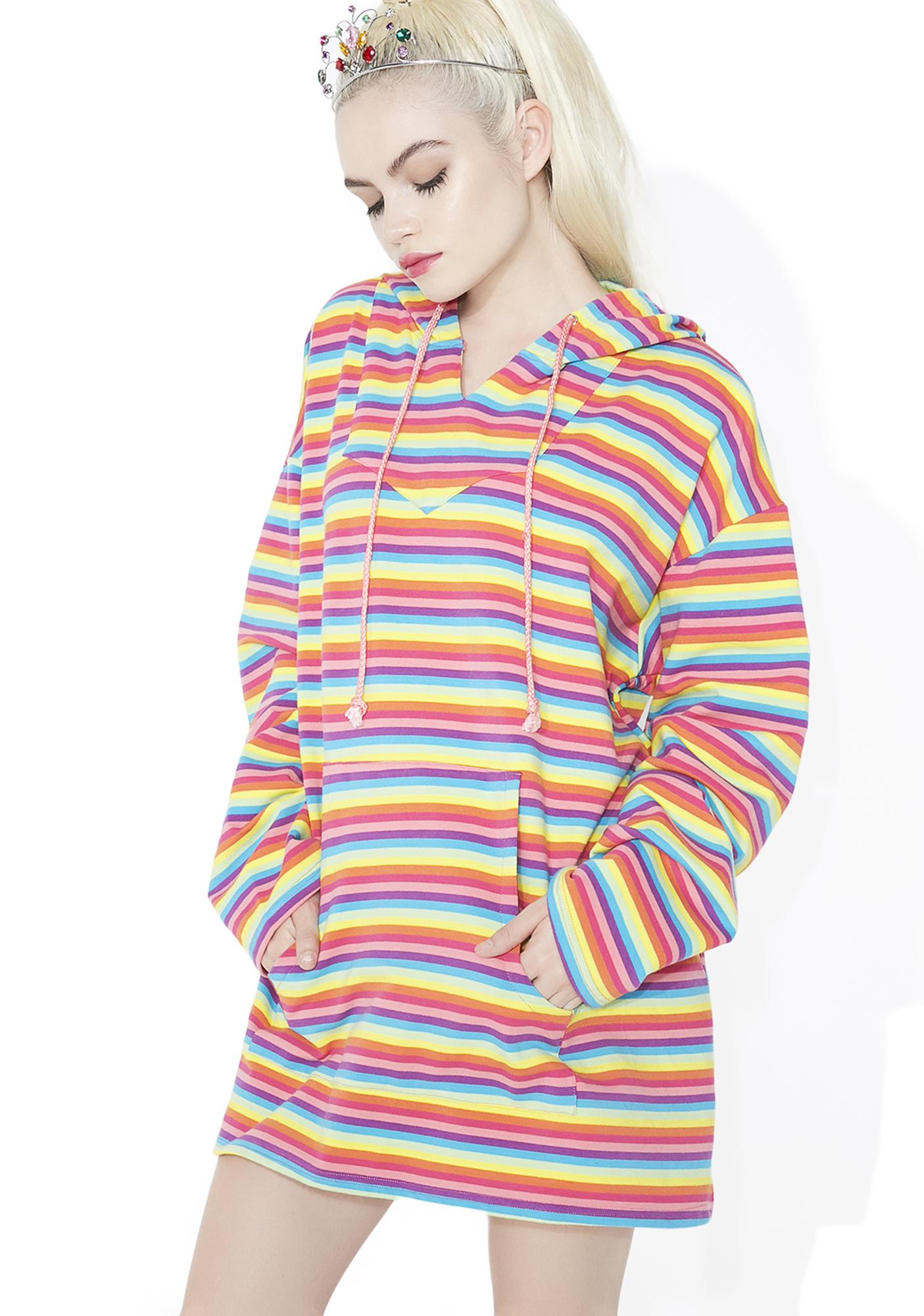 Sugar Thrillz Rainbow Crash Striped Hoodie