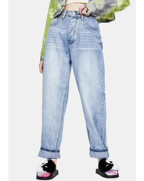Light Wash Baggy Boyfriend Jeans